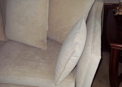 Arm Detail of Knoll Drop Arm Sofa from a multiyork three piece suite Restored by Richard Bull Upholstery