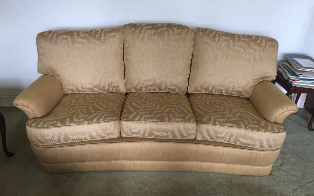 Treasured curved Bridgecraft three piece suite brought up to date